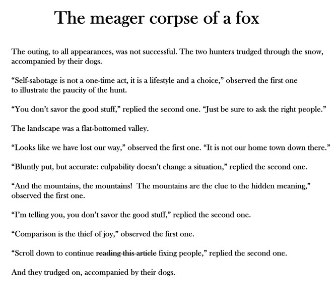The meager corpse of a fox