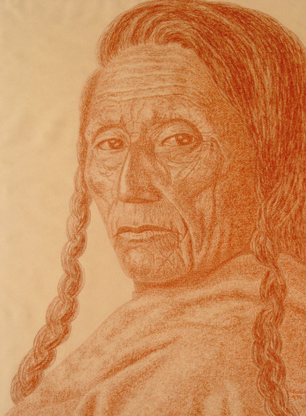 OLD RED INDIAN MAN WITH PLAITS