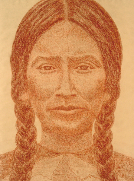 RED INDIAN LADY WITH PLAITS