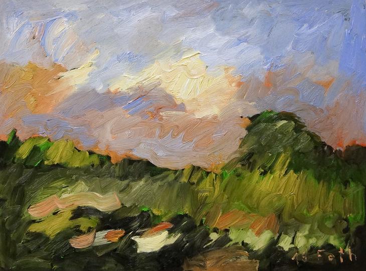 Landschaft, gewittriges Licht mit wandernden Schatten I