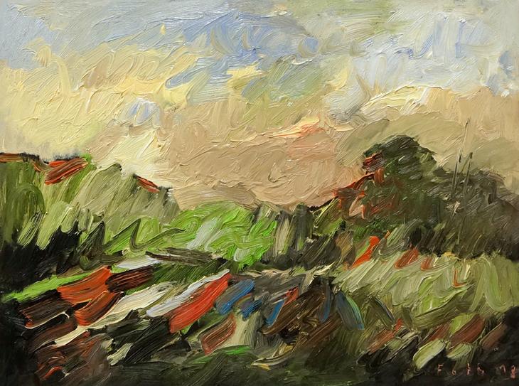 Landschaft, gewittriges Licht mit wandernden Schatten III