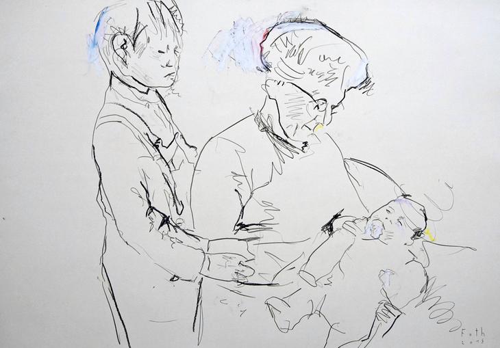 Der Künstler mit Großmutter und kleinem Bruder