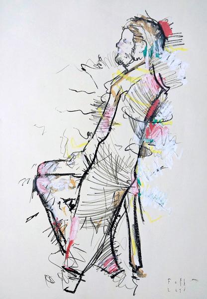 Der Künstler als Student, sich während eines Kolloquiums sammeln