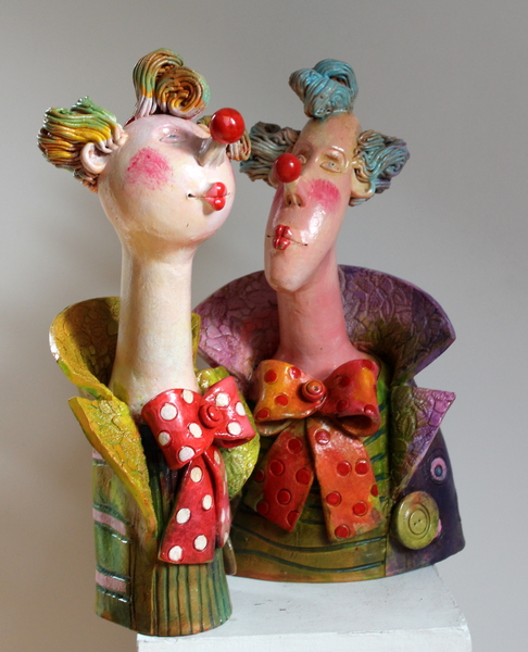 Clowns Ceramic sculptures