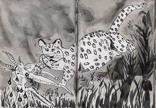 animal drawing black and white ink on paper animals drawings art