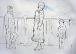 Der Künstler mit Mutter und kleinem Bruder auf Autobahnbrücke