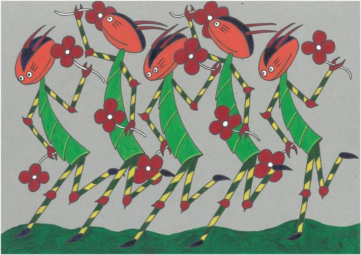 Five scorpions dancing on cardboard, one outsider mini art