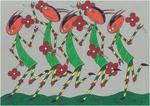Five scorpions dancing on cardboard, one outsider mini art