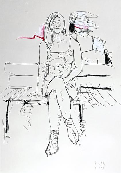 Zugehfrau auf Parkbank