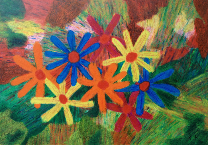 Day when God created the flowers, contemporary amateur painting