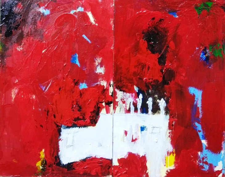 Diptych in Red
