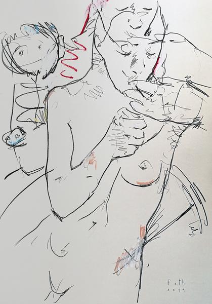 Frau, rauchend, mit zwei Kindern