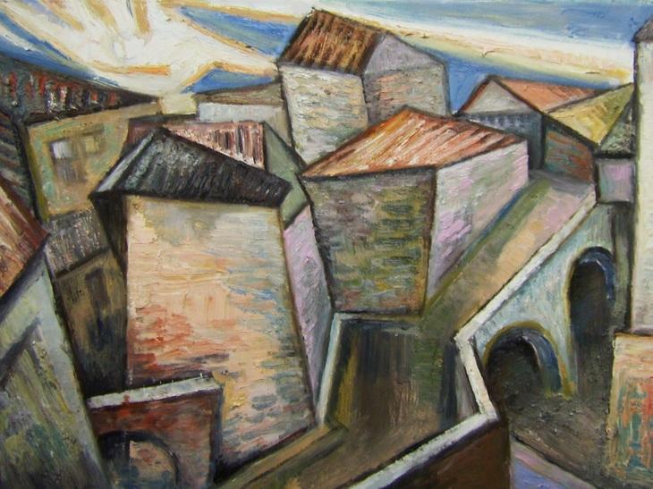 Alte Stadthäuser am Morgen