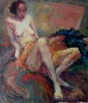 Akt mit gelbem Tuch