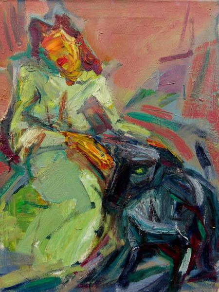 Dame in Grün mit Hund