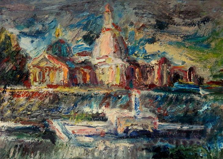 Dampfer und Kirche
