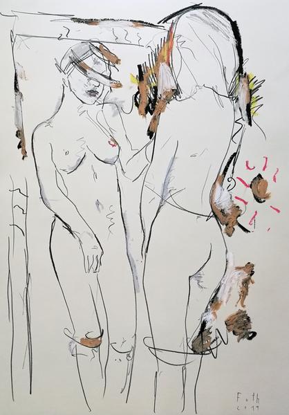 Malerin vor Gemälde, Februar