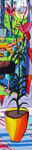 still life painting colorful painting flowers  pot flower vase