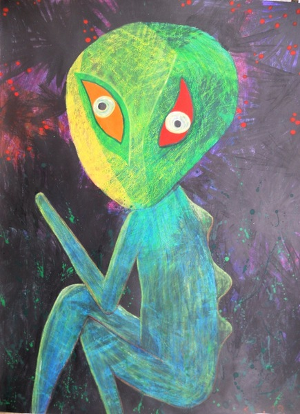 Evil child, naive art with a fantastic story