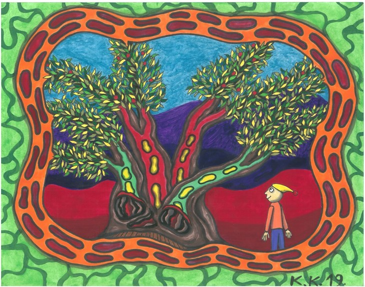 Magic tree, oldboneart fantastic story and contemporary picture