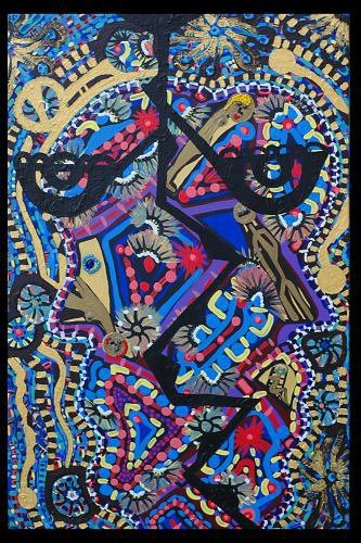 Bue and black by Mirit Ben-Nun inspired Israelil artist