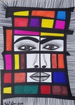Artistic modern colored drawing Israeli artist