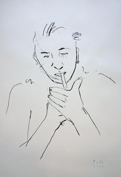 Bursche, sich eine Zigarette ansteckend