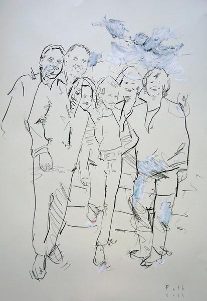 Der Bruder des Künstlers mit Tochter und Frau Mama