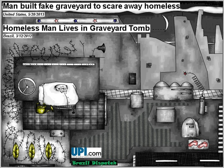 Homeless man lives in graveyard tomb