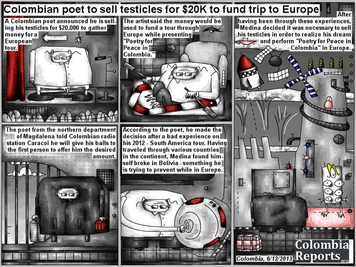 Poet to sell testicles to fund tour to Europe