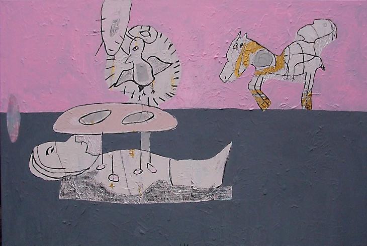 DON QUICHOTTE ODER DIE ALCHEMIE DER LIEBE, 2004, 80 x 120 cm,...