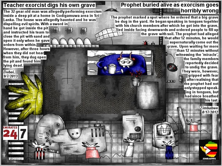 Teacher exorcist digs his own grave