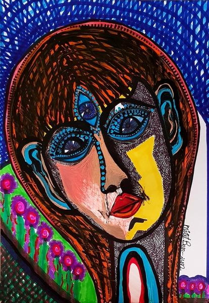 mask  female paintings mirit ben nun artist