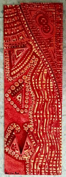 Pintora abstracta israeli relieve acrilico en madera