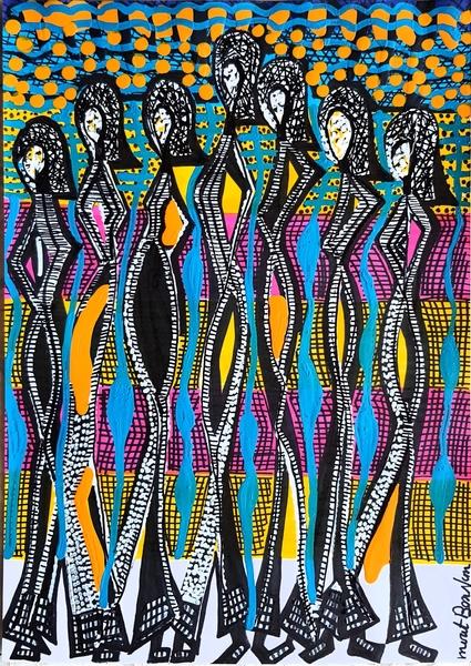 Israeli painter modern drawings for sale Mirit Ben-Nun