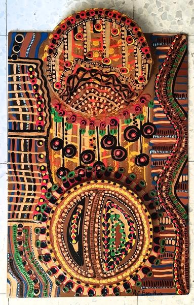 wood artwork painted acrylic mirit ben nun israeli artist