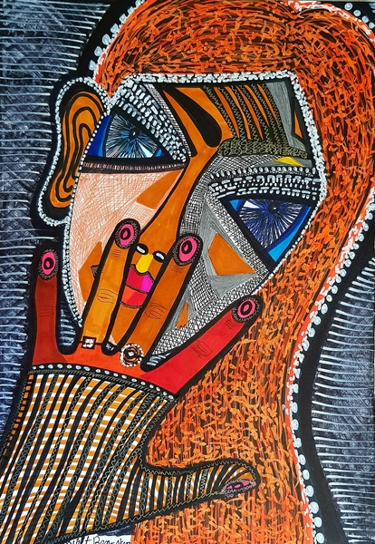 Hamsa against evil eye modern artist Mirit Ben-Nun
