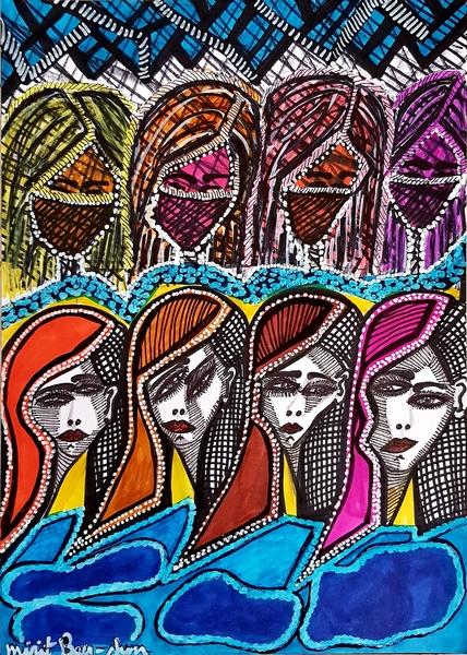 Faces Figurative portrait jewish female artist Mirit Ben-Nun