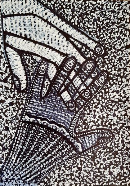Mujer pintora en arte moderno desde Israel  hamsa hamsa