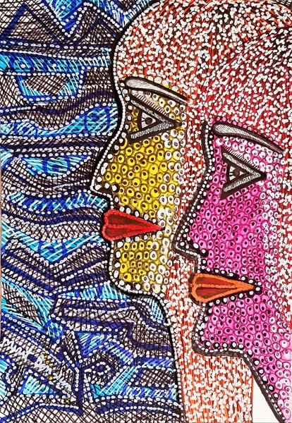Mujer artista pinta dibujo rostro colorido desde Israel