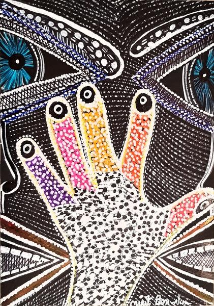 Mujer pintora artista israeli dibujo hamsa Mirit Ben-Nun