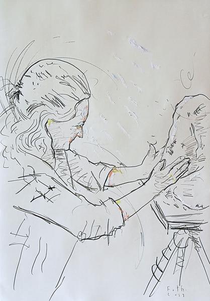 Ioana, an einer Büste arbeitend