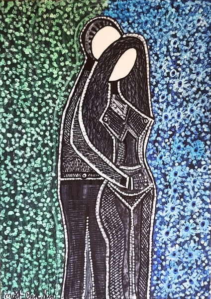 Israel woman artwork couple drawings for sale