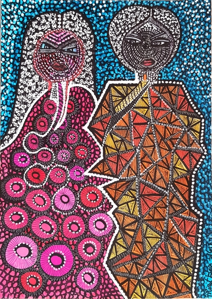 Woman artwork israel drawings colorful couple for sale