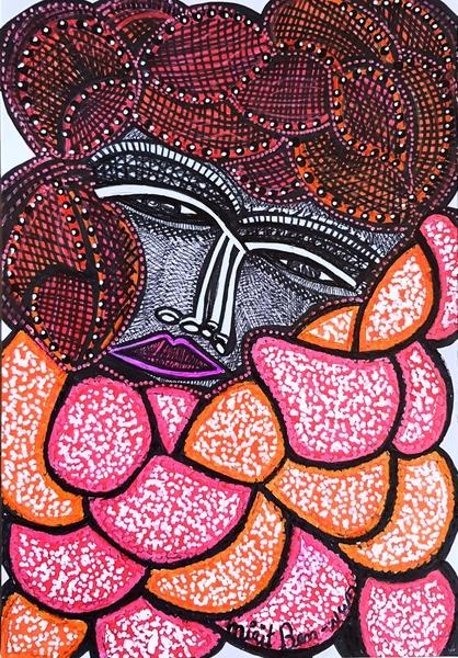Dibujo cara expesivo artista mujer israeli latina desde Israel