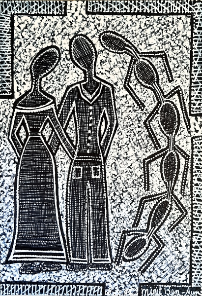 Couple drawings modern artwork by Mirit Ben-Nun