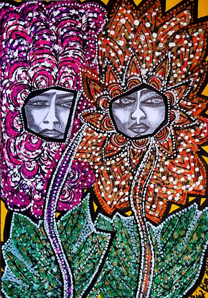 Faces and flowers art in Israel woman artwork