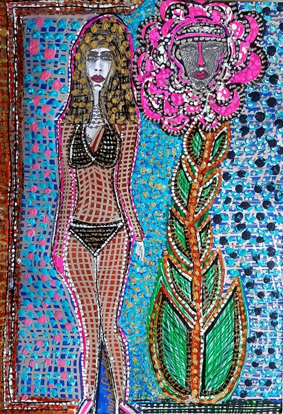 Woman and flower modern art in Israel Mirit Ben-Nun