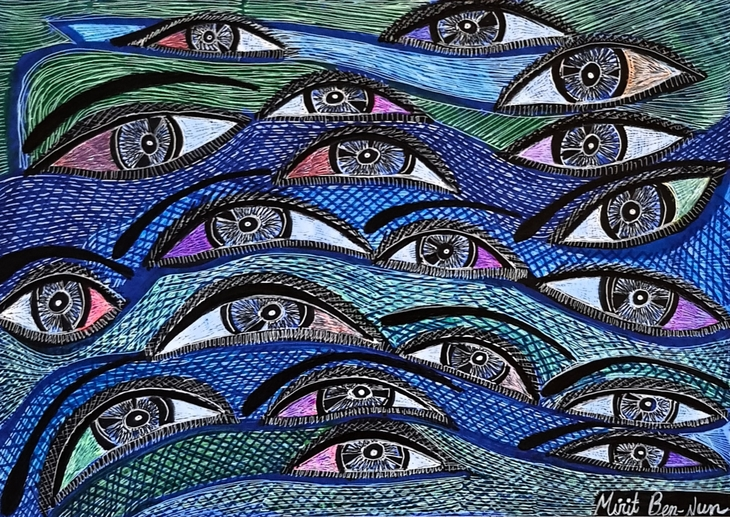 Faces and eyes art in Israel woman artwork