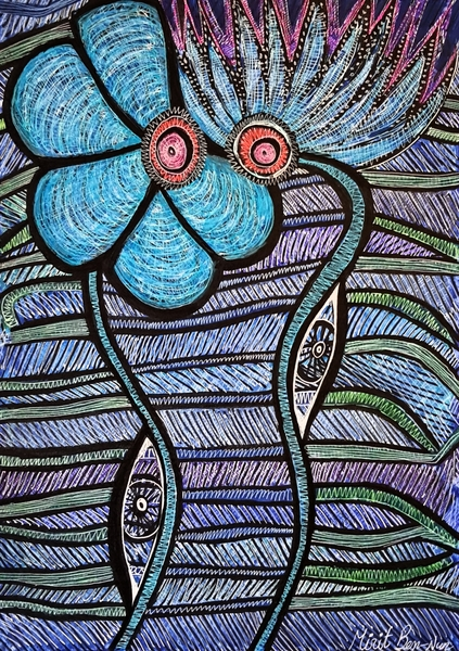 Blossom flowers art Israel woman artwork